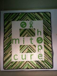 This is the first quilt made which is on display at the MitoCanada office in Brantford, Ontario.